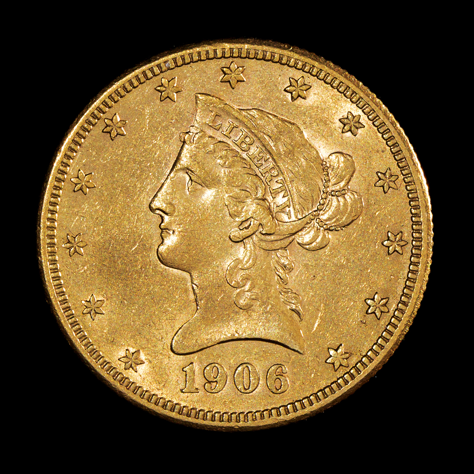 A United States 1906-S Liberty Head $10 Gold Coin